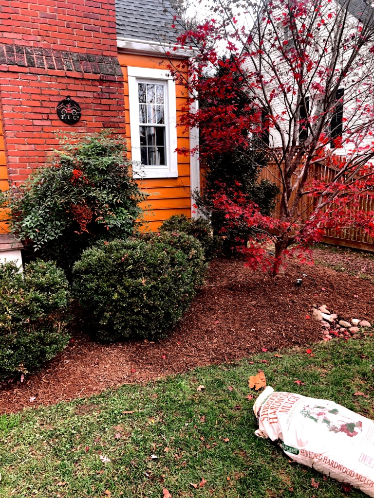 A fall clean-up landscaping job completed by The Lawn Barbers.